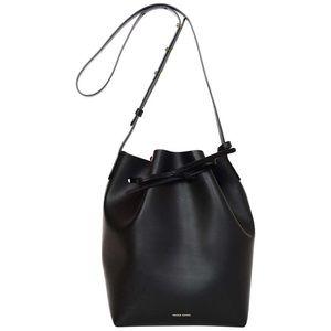 Mansur Gavriel black and pink mini bucket bag